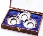 いぶし銀『茶仙』亀甲茶托(3枚組)